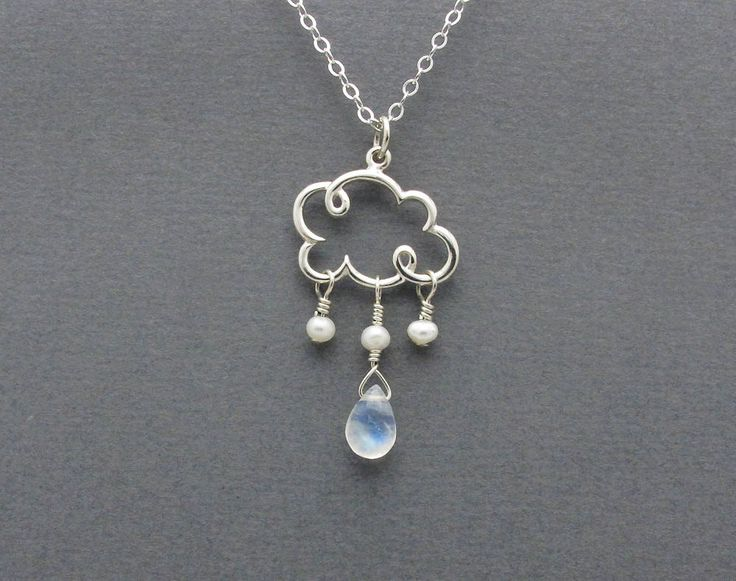 cloud necklace cloud charm necklace blue by SharonClancyDesigns. $38.00 USD, via Etsy.