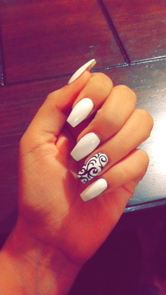 White coffin acrylic nails. Love how my nails came out! Discover and share your nail design ideas on www.popmiss.com/nail-designs/