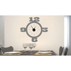 Relojes de pared realizados con vinilos decorativos y un mecanismo real para que además de adornar y decorar, puedas saber la hora en cualquier momento.