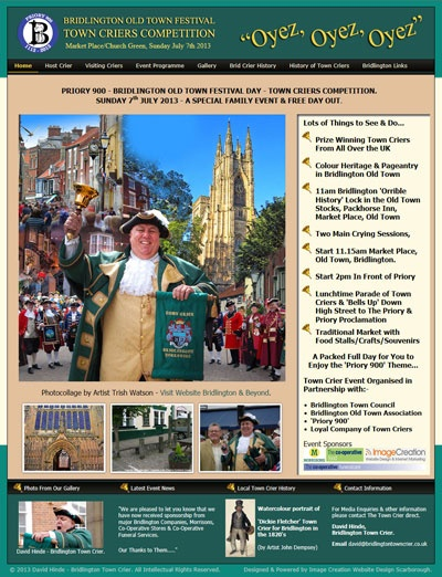 Proud to Sponsor - Bridlington Old Town Festival Day – Town Criers Competition. www.BridlingtonTownCrier.co.uk