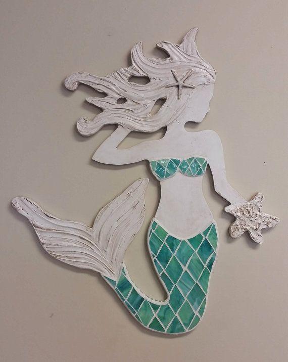 Sticker sirène mosaïque, petite taille, plage côtières Art Decor, sirène de bois à la main, fabriqué sur commande, autre verre couleurs disponible