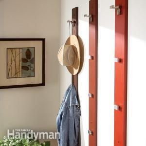 Create a Sleek and Simple Coat Rack and Hat Rack Build this rack from a 6 ft. 1x4 and coat hooks Read more: http://www.familyhandyman.com/woodworking/projects/create-a-sleek-and-simple-coat-rack-and-hat-rack/view-all