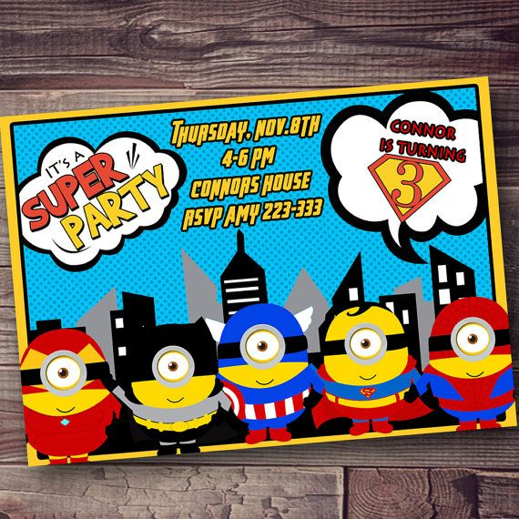 MINION superheros super hero invitation FREE by AmysSimpleDesigns, $10.00