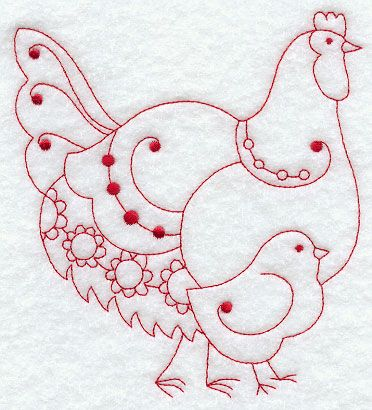 Country Hen III (Redwork)  http://www.emblibrary.com/EL/Products.aspx?ProductID=F8720=Emblibrary