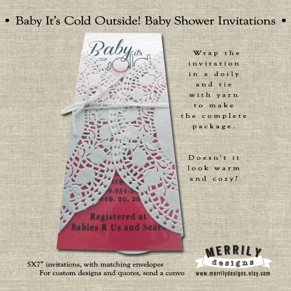 Baby It's Cold Outside Winter Themed Baby Shower Invitations by Merrily Designs, $3.00 each