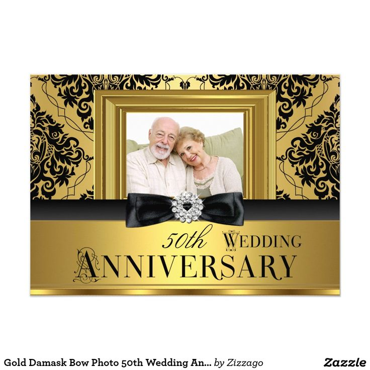 gold damask bow photo 50th wedding anniversary 3 card - 50 Wedding Anniversary Invitations