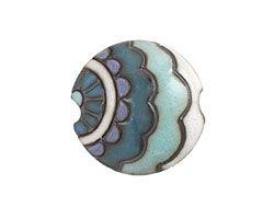 Golem Studio Blue Paisley Waves Carved Ceramic Lentil 23mm