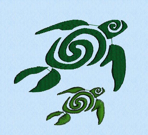 Swirly Spiral Sea Turtles Tattoo machine embroidery by lynellen, $3.00