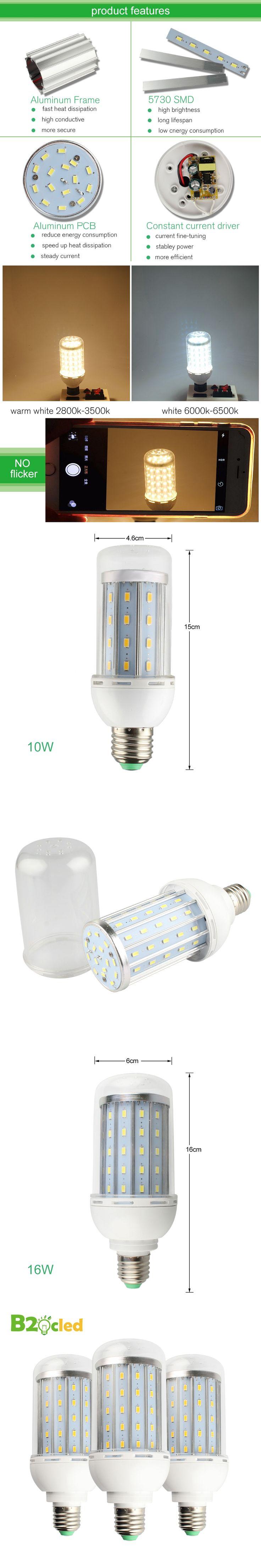 High quality LED bulb corn SMD 5730 110V 220V 85-265V E27 10W 16W corn lamp With cover led bulb ball warm white led spot light