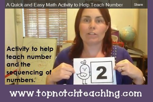 A quick math activity you can use to help teach number and the sequencing of numbers. Also included is the downloadable file using the numbers 1-30. {Video Post} http://topnotchteaching.com/time-saving-tips/a-quick-and-easy-math-activity-to-help-teach-num