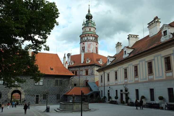 The tower of Cesky Krumlov castle from the main square - May 14 2014
