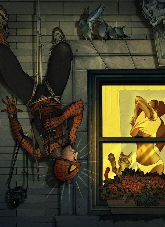 Человек-паук вверх ногами смотрит в окно, как раздевается ...
