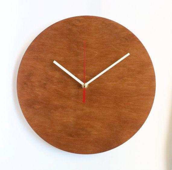 Circle Wall Clock Brown Clock Wooden Wall Clock by OlaDiClock