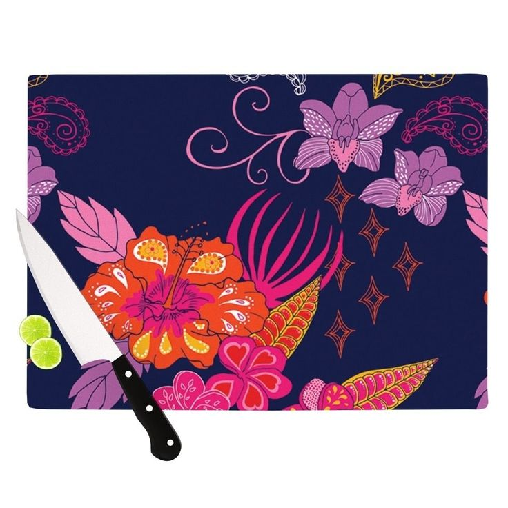 Kess InHouse Anneline Sophia 'Tropical Paradise' Purple Floral Cutting Board