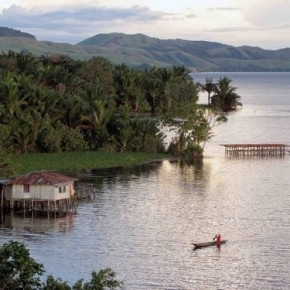 Sentani Lake in Papua Island, Indonesia. One of the biggest Lake in the world. It located near Jayapura, one of the capital city province of Papua.