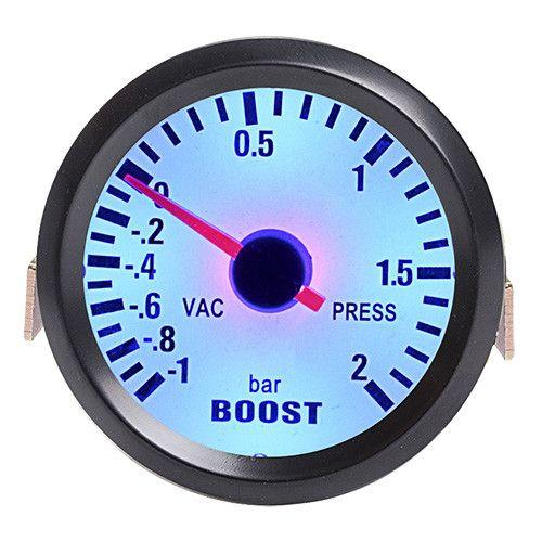 "Car Gauge 2"" 52mm Bar Turbo Boost Gauge -1~2 Bar / -30~30 PSI Vacuum Press Meter for Auto Blue Light Black Rim Shell 12V"