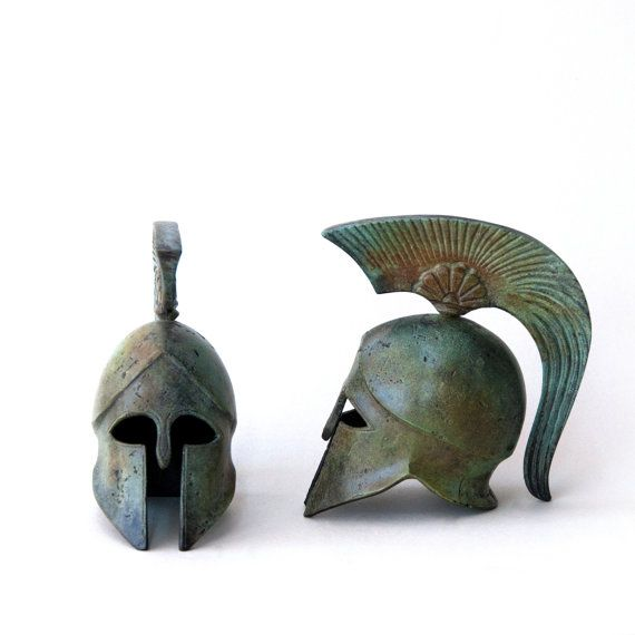 Bronze Helmet Bronze Sculpture Metal Art Sculpture by GreekMythos