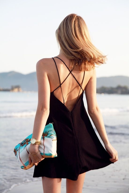 Strappy Little Black Dress + Palm Tree Clutch