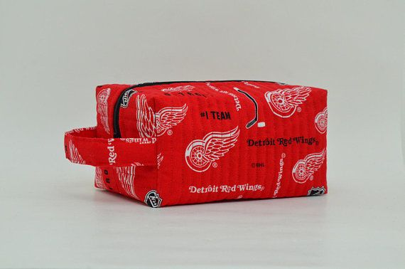 NHL Red Wings Quilted Cosmetic Bag with Handle Boxy Pouch