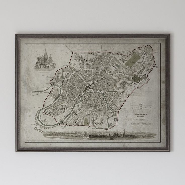 2015 Map Of Russia%0A Moscow Map  Vintage Map of Moscow  Russia Circa   th C
