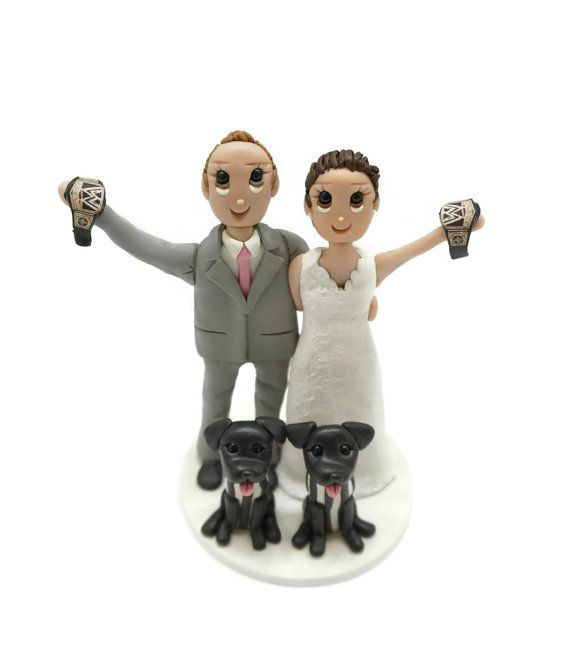 There is a $55 USD deposit toward a custom made polymer clay cake topper. Cost starts at $105 USD for the bride and groom The topper shown is just a sample to give you an idea, yours will be custom made to match your preferences.  **ADDITIONAL ANIMALS,PEOPLE,OR PROPS WILL COST MORE**  People $25 Babies and small children $15 to $20 Pets $10 to $20 depending on size and type Beach Theme $15 with palm tree $10 without palm tree Other props will be determined at the time of order... please ask…