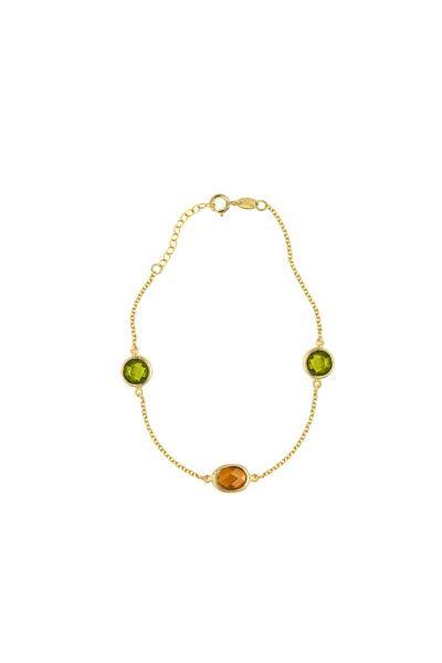 Βραχιόλι Al'oro χρυσό Κ14 πέτρες  ΑΧ692