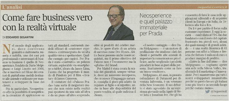 Oggi il Corriere della Sera parla di noi! #cx #innovazione Trovate l'articolo anche a pag. 16 di CorrierEconomia. Buona lettura! :D