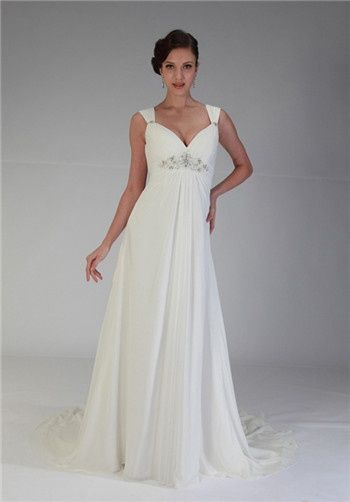 Sweetheart neckline with wide rouched straps. Beaded applique at empire waist. Deep V-back with zipp