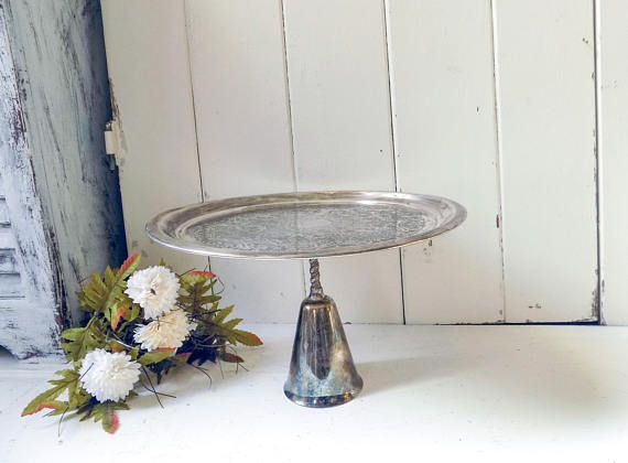 Silver Cake Stand Rustic Dessert Stand Silver Plate Wedding
