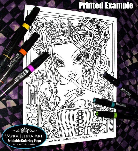 Digital Download Coloring Page Sweet Tooth Line Etsy Coloring Pages Fairy Artwork Line Art