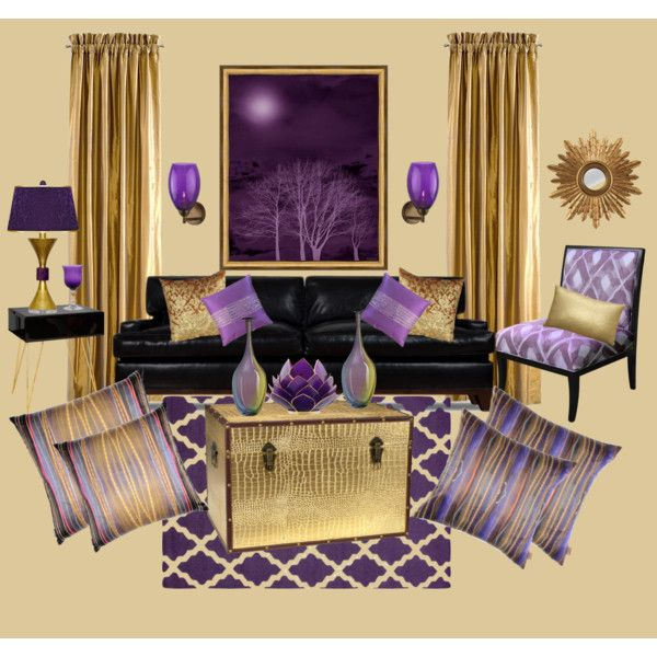 Purple and gold shabby chic living room by truthjc on Purple and gold bedrooms