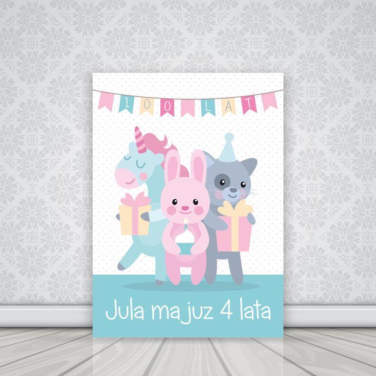 Personalizowany plakat dla dziewczynki ZWIERZACZKI