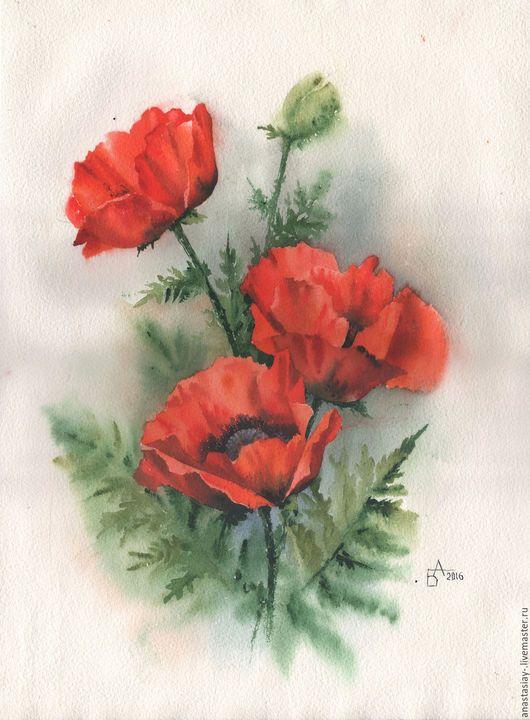 Картины цветов ручной работы. Ярмарка Мастеров - ручная работа. Купить Маки. Handmade. Ярко-красный, маки, цветы