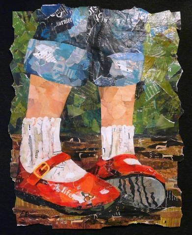 """Eileen Downes """"paints"""" with torn papers I've always wanted to do more paper collage. This is wonderful."""