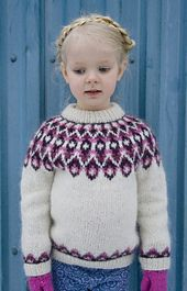 Blossi is a unisex children's sweater knit with Léttlopi. The pattern is available in both English and Icelandic. It is knit in the round from the bottom up on 4.5 mm (US 7) needles. The sweater is seamless except for the underarms which are grafted using Kitchener stitch. The pattern is for sizes 2-8 years and is published in English and Icelandic.