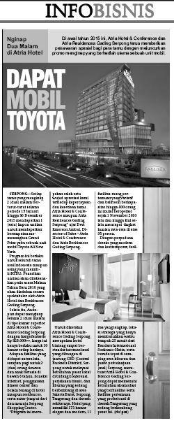 Nginap Dua Malam di Atria Hotel - 3 February 2015 Tangerang Ekspres Newspaper