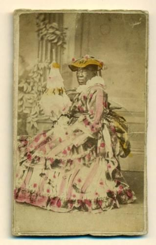 1865-BLACK-AFRICAN-AMERICAN-WOMAN-BIG-TINTED-DRESS-PARASOL-amp-BONNET-LIZA-TAYLOR