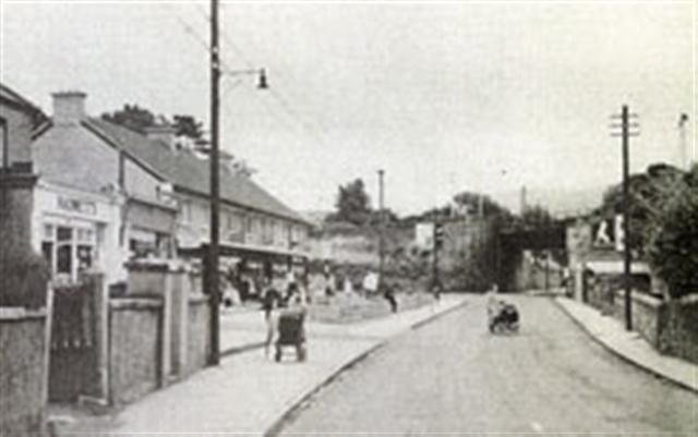 The old railway bridge in Dundrum, Stella fish and chips, the Kandy Shop, the Astor Ballroom on the left and Joe Daly;s bike shop on the right - ah memories!