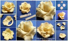 Large fondant rose tutorial                                                                                                                                                     More