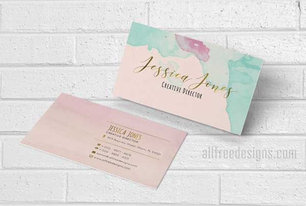 4 New Watercolor Business Cards Featuring Gold Accents