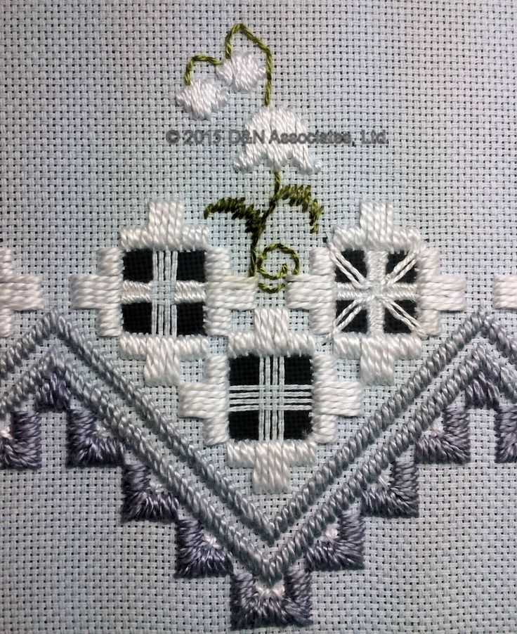 Lovely Lilly of the Valley pattern done in hardanger and drawn thread