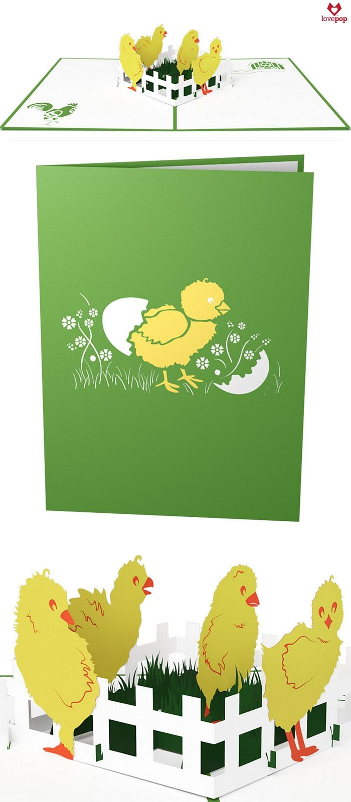 """Gift a card full of """"aww!"""" when you give an Easter pop up card popping with paper art Easter chicks. #HappyEaster #BabyChicks"""