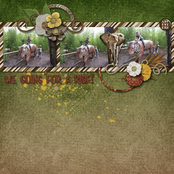 We Going For A Ride, digital scrapbook layout.    Credits:  Epic Adventure Grab Bag by Laurie's Scraps & Designs  at Gingerscraps    Love the jungle colors and theme and the lovely elephant in the kit.    http://store.gingerscraps.net/Epic-Adventure-GrabBag.html
