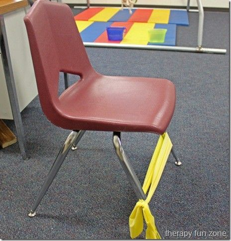 THIS BAND CHAIR IS AWESOME.  Put it on chairs for your antsy kids, and it can help the focus.  Another idea — cut those pool noodles into smaller pieces for the kids to roll back and forth with their feet. Worked so well for my kiddos with ADD.