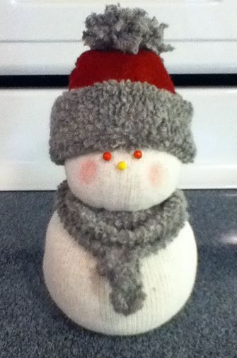 sock snow people, crafts, seasonal holiday decor, This one I decided to make an Infinity scarf Here again the hat is from the toe of a sock and rolled to expose the inside of the sock
