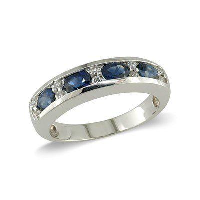 Ladies Diamond & Sapphire Ring in 14K White Gold(TCW 1.16), Size 7.5 Grande Jewelry. $815.00