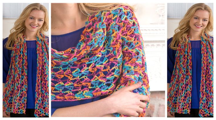 This easy going crochet shawl pattern uses colorful sock yarn that is super cheerful to crochet and wear. If that isn't aweome enough, it folds up neatly,  so it's the perfect little crochet piece to carry everywhere.  Use it as either a scarf o