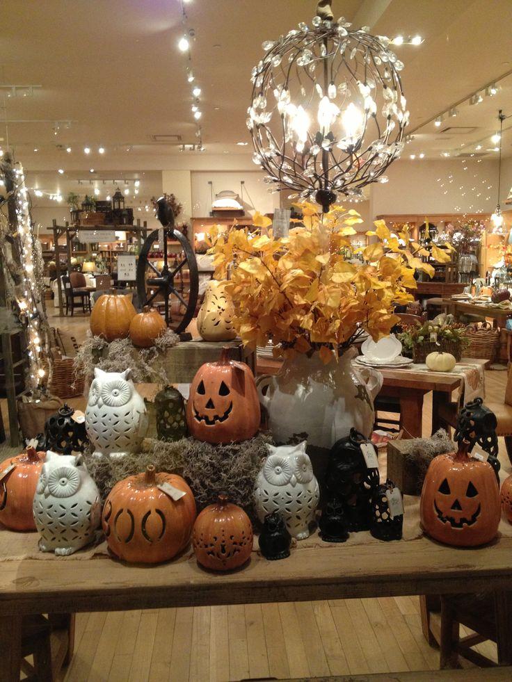 pottery barn halloween window display owl pumpkin candle holders - Halloween Barn