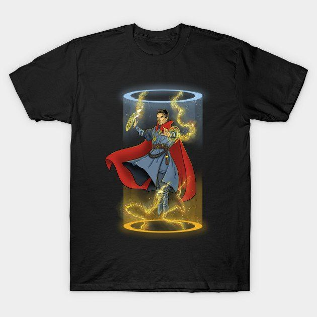 """Doctor Strange T-Shirt by Itoko Design. """"Mystic Portals"""" is a mashup of the Portal video game and Marvel Comics superhero Doctor Strange."""