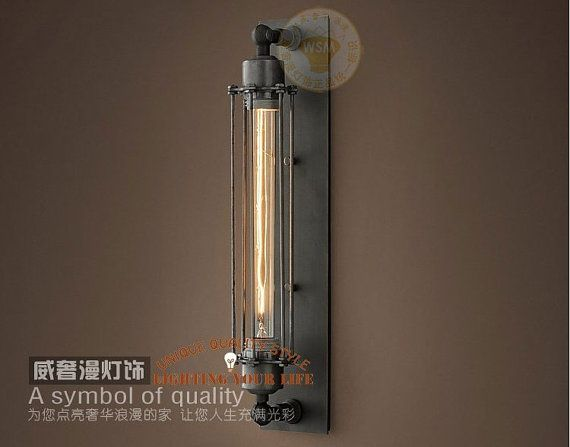 Caged Wall Sconce With Switch : Dining Room Wall Sconce lamp Edison Tube Bulb by AugustRushLights, USD 108.80 Lights Pinterest ...